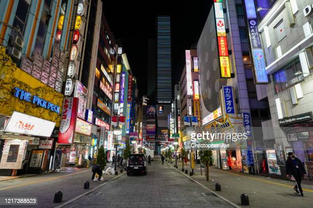General view of Tokyo's Kabukicho adult entertainment area seen less busy in the Shinjuku district on April 07, 2020 in Tokyo, Japan. Japan's Prime...