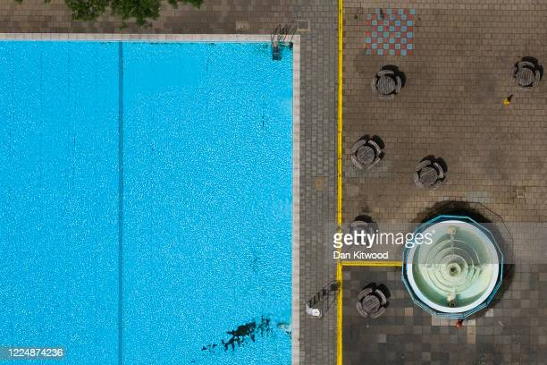 A general view of Tooting Bec Lido on May 14 2020 in London United Kingdom As temperatures rise across Britain its large public pools remained closed...