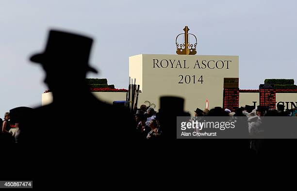 A general view of top hats in silhouette during day three of Royal Ascot at Ascot Racecourse on June 19 2014 in Ascot England