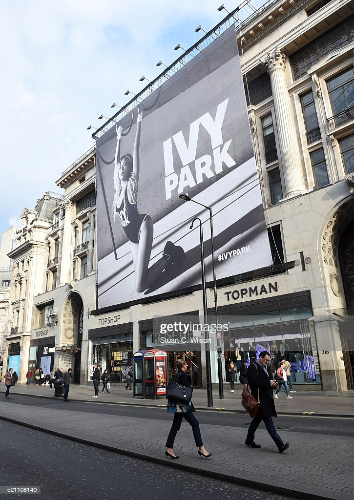 General view of TopShop on Oxford Street, London, with Beyonce's Ivy Park collection advertisement as it goes on sale at TopShop on April 14, 2016 in London, England.