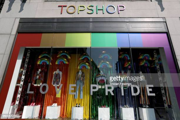 General view of Topshop store on Oxford Street store during Pride In London on July 7, 2018 in London, England. It is estimated over 1 million people...