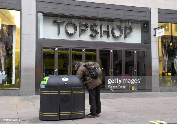 General view of Topshop's flagship store on Oxford Street today on November 27, 2020 in London, England. British fashion empire Arcadia, which owns...