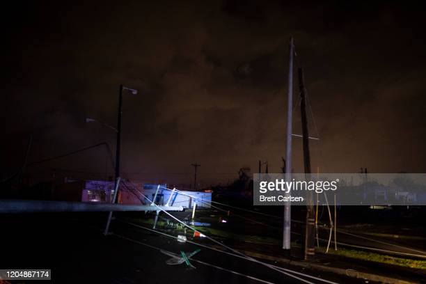 General view of tornado damaged service lines on Ninth Ave N on March 3 2020 in Nashville Tennessee A tornado passed through Nashville just after...