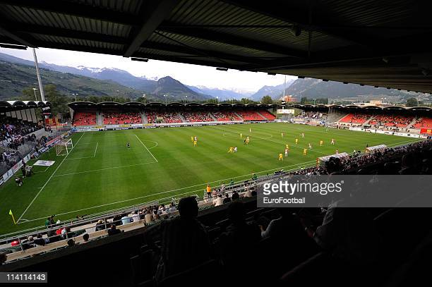 General view of Tourbillon Stadium during the Swiss Super League match between FC Sion and FC Luzern at Stade Tourbillon on May 10, 2011 in Sion,...