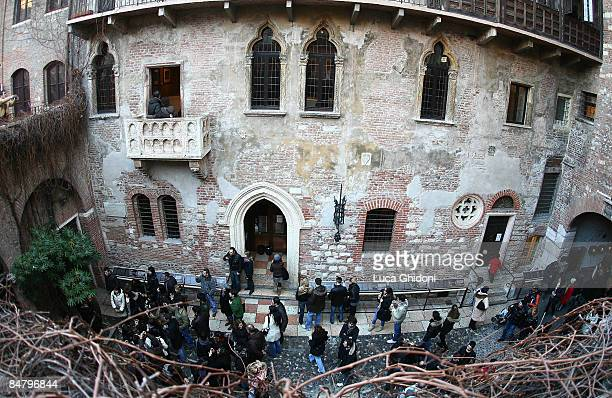 A general view of tourists visiting Juliet's house and the balcony on St Valentine's day on February 14 2009 in Verona The city of Verona known as...
