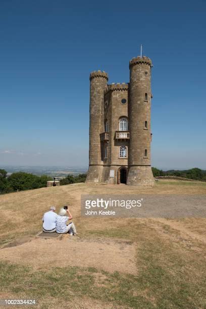 A general view of tourists visiting the Broadway Tower folly on Broadway Hill in the Cotswolds on July 11 2018 in Broadway England The tower...