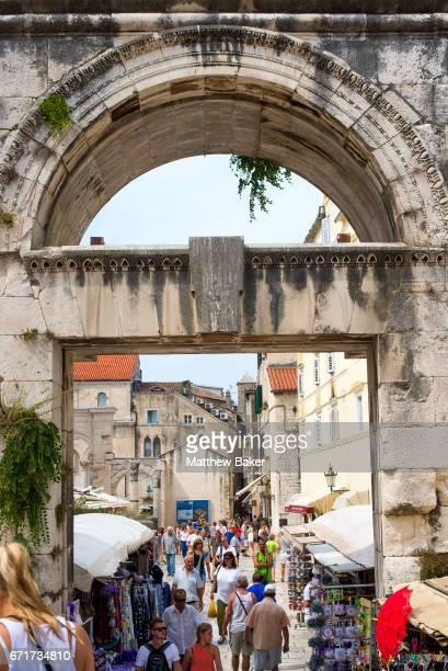 A general view of tourists walking around Split Old Town on August 31 2016 in Split Croatia