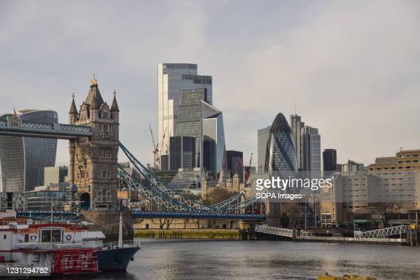 General view of Tower Bridge and the City of London during the national lockdown. Most businesses remain closed in the capital, as the government...