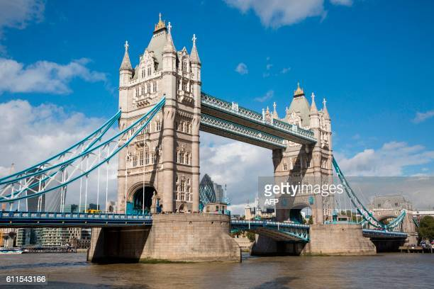 A general view of Tower Bridge in central London on September 30 2016 Tower Bridge will be closed to all vehicles from October 1 2016 until December...