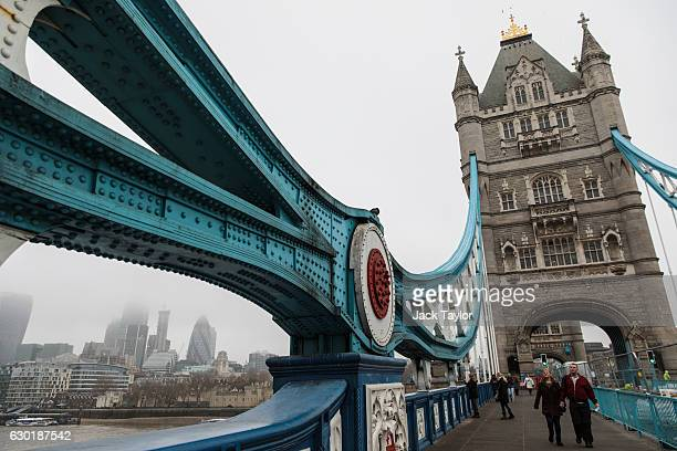 A general view of Tower Bridge in the fog on December 18 2016 in London England A second day of thick fog in London has led to further flight delays...