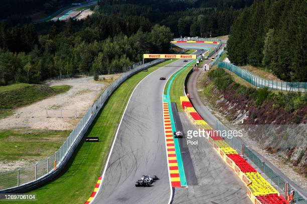 General view of track action during the F1 Grand Prix of Belgium at Circuit de Spa-Francorchamps on August 30, 2020 in Spa, Belgium.