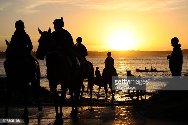 General view of trackwork session at Lady Bay beach ahead of day two of the Warrnambool Racing Carnival on May 04 2016 in Warrnambool Victoria Riders...