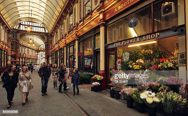 General view of traders and shoppers in the Leadenhall Market in the City of London on April 16, 2009 in London, England. The future of the historic...
