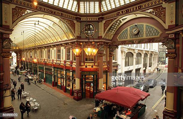 A general view of traders and shoppers in the Leadenhall Market in the City of London on April 16 2009 in London England The future of the historic...
