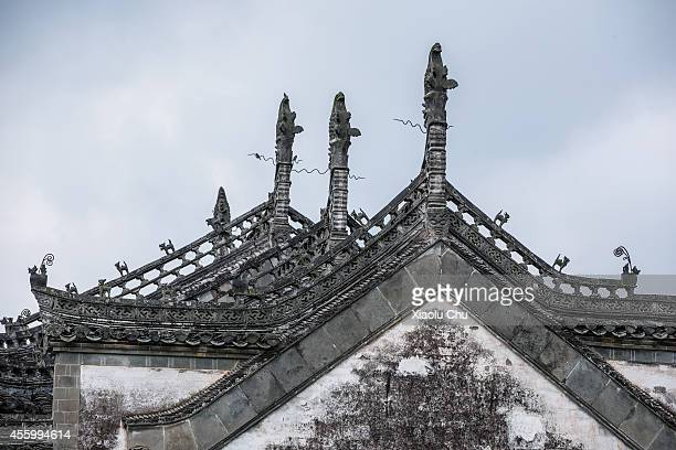 A general view of traditional Hui style architecture in Tangyue village Huangshan City on September 12 2014 in Huangshan China Huangshan is a city...