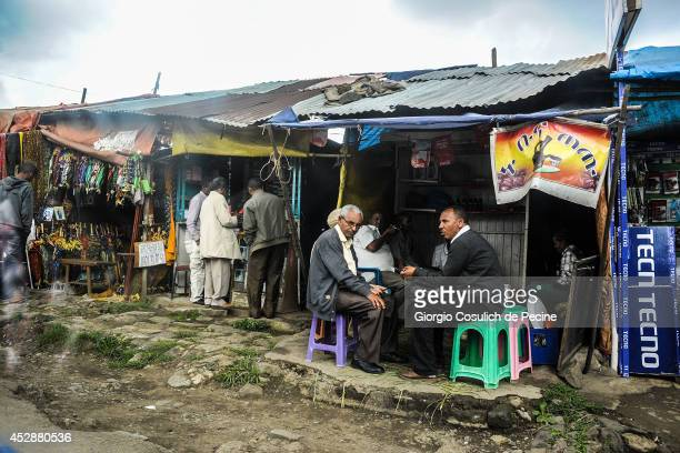General view of traditional shops in the district of Shiro Meda on July 04 2014 in Addis Ababa Ethiopia The Ethiopian government has recently...