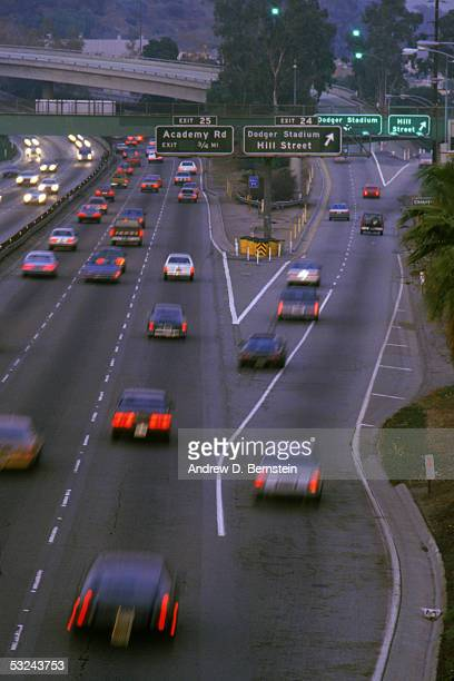 A general view of traffic driving to Dodger Stadium in Los Angeles California