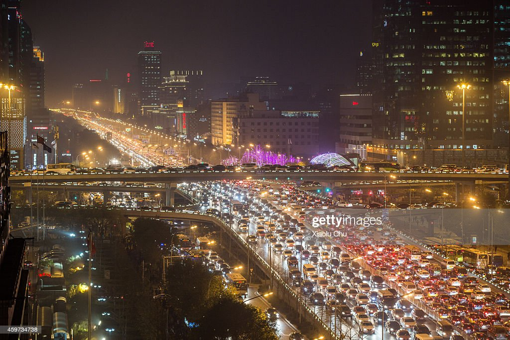 A general view of traffic in Beijing rush hour at Beijing Guomao (International Trade Center) CBD area on November 28, 2014 in Beijing, China.