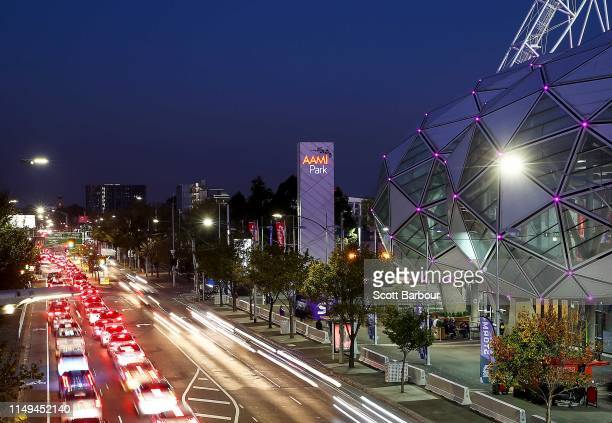 General view of traffic on Olympic Boulevard and AAMI Park during the round 10 NRL match between the Melbourne Storm and the Wests Tigers at AAMI...