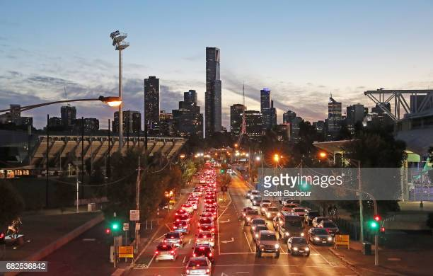 A general view of traffic on Olympic Boulevard leading to AAMI Park during the round 12 Super Rugby match between the Melbourne Rebels and the...
