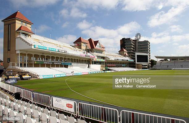 A general view of Trent Bridge stadium the home of Nottinghamshire County Cricket Club ahead of day two of the Specsavers County Championship...