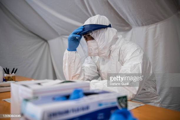 General view of triage of prevention of health personnel at the Giovanni Bosco hospital as northern Italy continues in the grip of Covid19...