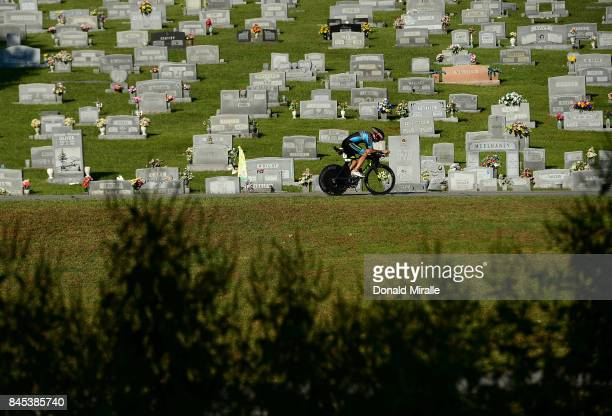 General view of triathlete biking past a cemetery during the Men's IRONMAN 703 St World Championships on September 10 2017 in Chattanooga Tennessee