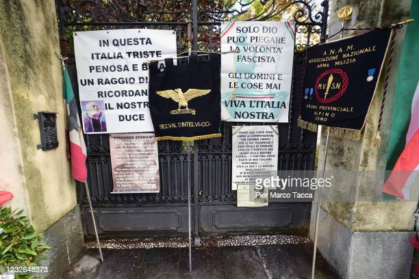 General view of tributes during the commemoration ceremony for the death of Italian dictator Benito Mussolini and his mistress, Claretta Petacci in...