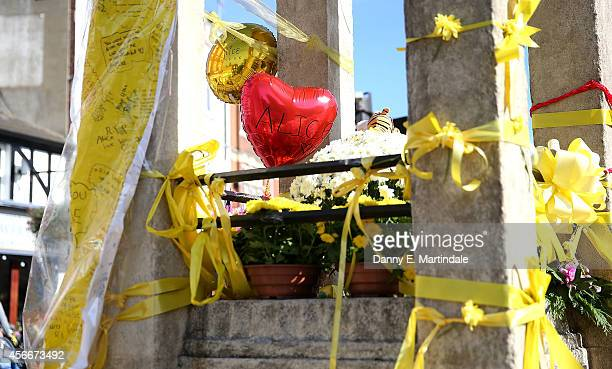 A general view of tributes left at the Hanwell clock tower in memory of Alice Gross on October 5 2014 in London England A body believed to be that of...
