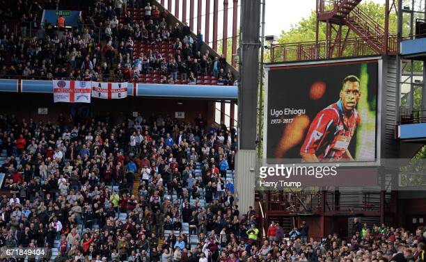 General view of tributes to Former Aston Villa player Ugo Ehiogu during the Sky Bet Championship match between Aston Villa and Birmingham City at...