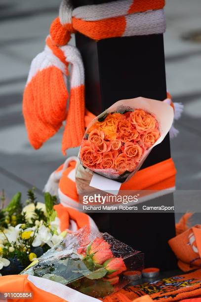 General View of tributes to the late Jimmy Armfield at his statue outside Bloomfield Road home of Blackpool FC during the Sky Bet League One match...