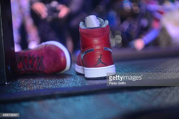 A general view of Trinidad James' Air Jordan's during the 4th annual Street Execs Christmas Concert at The Tabernacle on December 23 2013 in Atlanta...