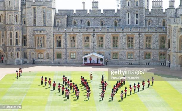 General view of Trooping The Colour, the Queen's birthday ceremony at Windsor Castle on June 13, 2020 in Windsor, England. In line with Government...