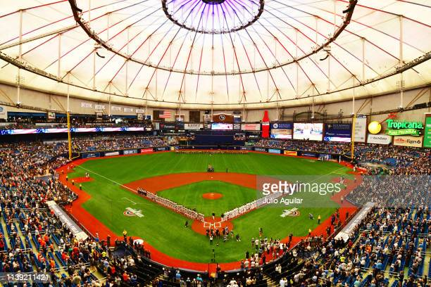 A general view of Tropicana Field before a baseball game between the Tampa Bay Rays and the Houston Astros on Opening Day on March 28 2019 in St...