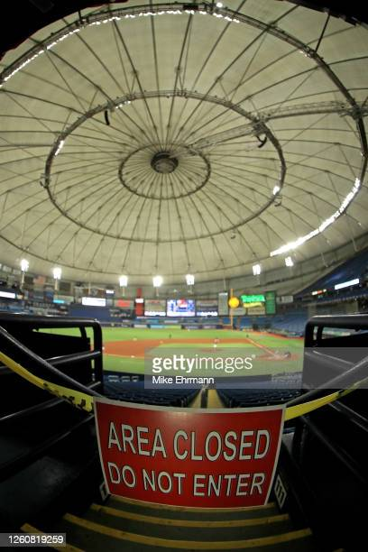 General view of Tropicana Field during a game between the Tampa Bay Rays and the Atlanta Braves on July 27, 2020 in St Petersburg, Florida.