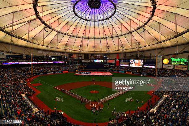 A general view of Tropicana Field during the national anthem before a baseball game between the Tampa Bay Rays and the Houston Astros on Opening Day...