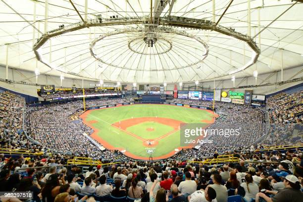 General view of Tropicana field during the sixth inning of a baseball game between the Tampa Bay Rays and the New York Yankees on June 23 2018 at in...
