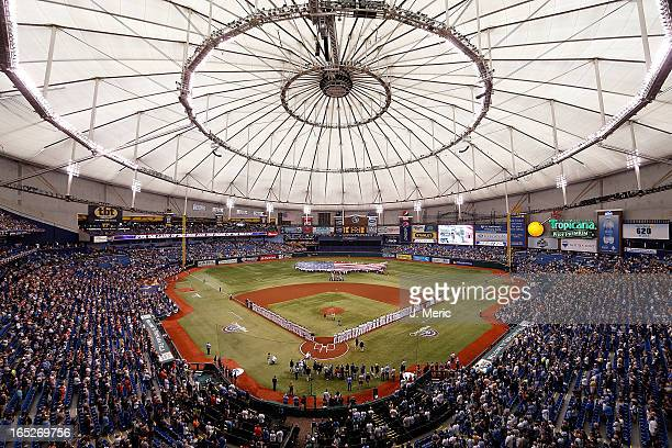 A general view of Tropicana Field just before the start of the Opening Day game between the Tampa Bay Rays and the Baltimore Orioles on April 2 2013...