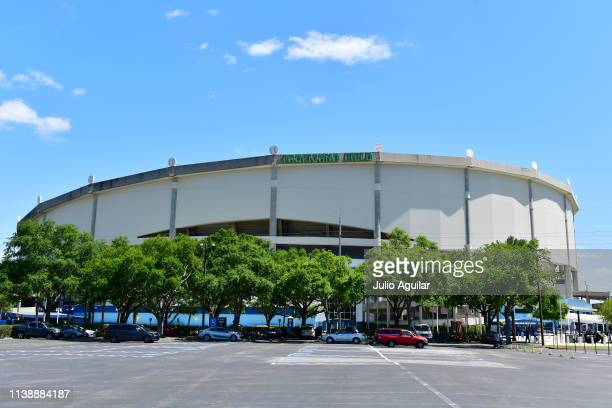 General view of Tropicana Field on Opening Day at a game between the Tampa Bay Rays and Houston Astros on March 28, 2019 in St Petersburg, Florida.
