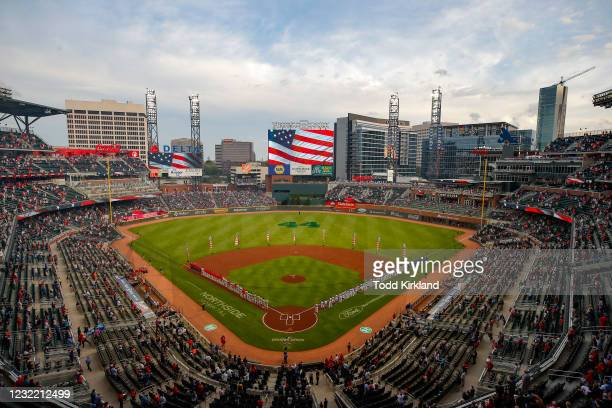 General view of Truist Park as the National Anthem is performed prior to an MLB game against the Philadelphia Phillies at Truist Park on April 9,...