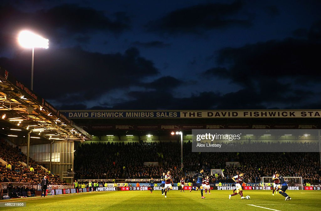 A general view of Turf Moor is seen as Danny Ings of Burnley controls the ball during the Barclays Premier League match between Burnley and Manchester City at Turf Moor on March 14, 2015 in Burnley, England.