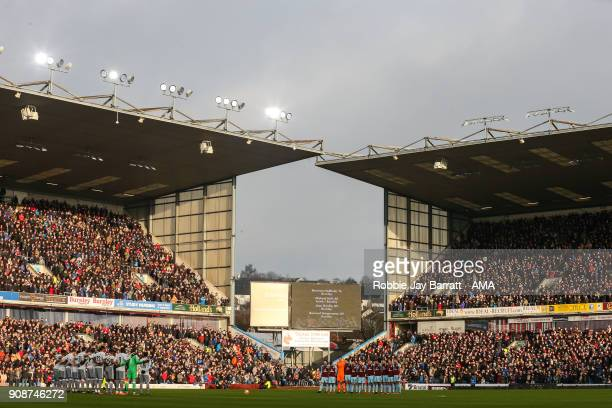 General view of Turf Moor the home stadium of Burnley as players and fans pay their respects to late Burnley fans and Cyril Regis during the Premier...