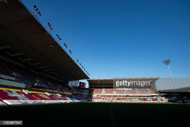 General view of Turf Moor with no spectators attending due to the Coronavirus pandemic during the Premier League match between Burnley FC and Watford...