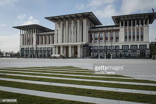 A general view of Turkey's new Presidential Palace built inside Ataturk Forest Farm and going to be used for Turkey's 91st Republic Day Reception...