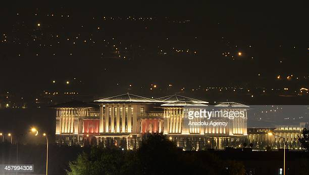 A general view of Turkey's new Presidential Palace built inside Ataturk Forest Farm and going to be used for Turkey's 91st Republic Day Reception for...