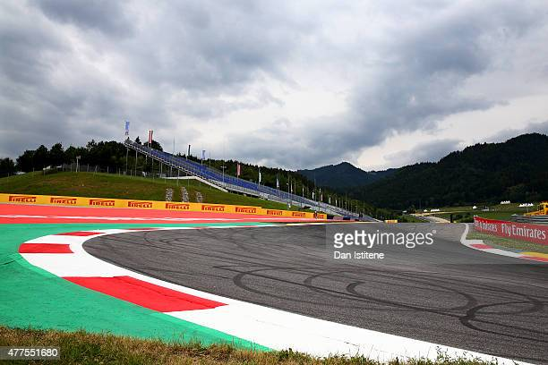 General view of turn one during previews to the Formula One Grand Prix of Austria at Red Bull Ring on June 18, 2015 in Spielberg, Austria.