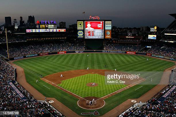 A general view of Turner Field during the game between the Atlanta Braves and the Arizona Diamondbacks on June 26 2012 in Atlanta Georgia