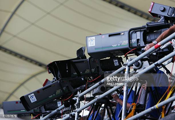 General view of TV Cameras during the FIFA World Cup Germany 2006 Group H match between Saudi Arabia and Ukraine played at the Stadium Hamburg on...