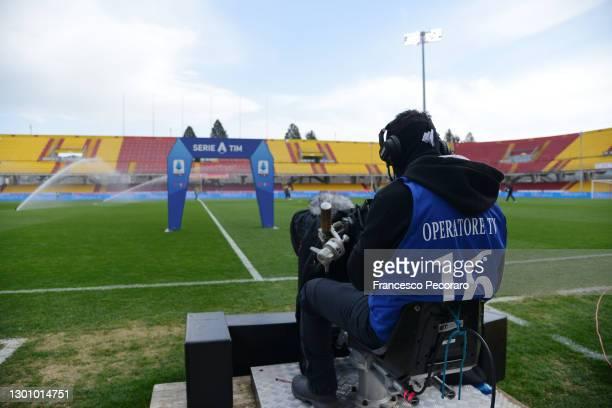 General view of TV cameras inside the stadium prior to the Serie A match between Benevento Calcio and UC Sampdoria at Stadio Ciro Vigorito on...