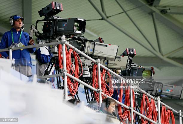 General view of TV Cameras lined up to record the action prior to the FIFA World Cup Germany 2006 Group D match between Mexico and Angola played at...